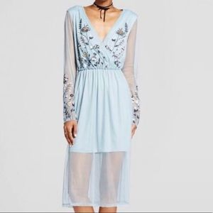 Floral Organza Embroidered Sheer Mesh Wrap Dress